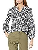 Amazon Essentials Classic-Fit Bracelet Length Sleeve Poplin Shirt Camisa, Negro/Blanco, L