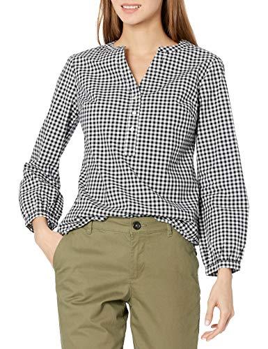 Amazon Essentials Classic-Fit Bracelet Length Sleeve Poplin Shirt Camisa, Negro/Blanco, XL