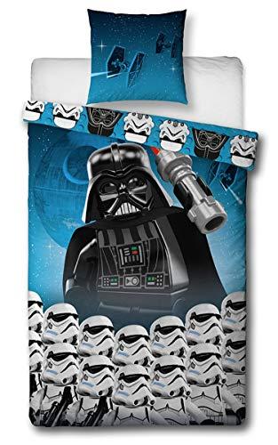 Sahinler 22070020 Parure de lit Star Wars Lego 140x200 cm 100% Coton, Bleu/Noir, 140 x200 cm