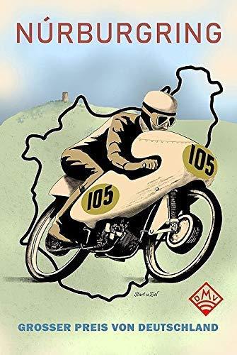 Keilrahmen-Bild – Mark Rogan: Nürburgring Motor Racing 1949 Leinwandbild Motorsport Motorrad Rennen Plakat
