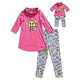 Dollie & Me Girls' Big Cowl Neck Emoji Legging Set and Matching Doll Outfit, Pink/Multi, 8