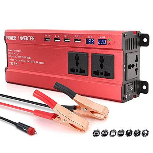 QJJML Inversor De Corriente De Onda Sinusoidal Modificada, Convertidor De CC 12 V / 24 V a 220 V Ca con 4 Puertos USB, para Autocaravanas Y Vehículos Recreativos Que Acampan,12V