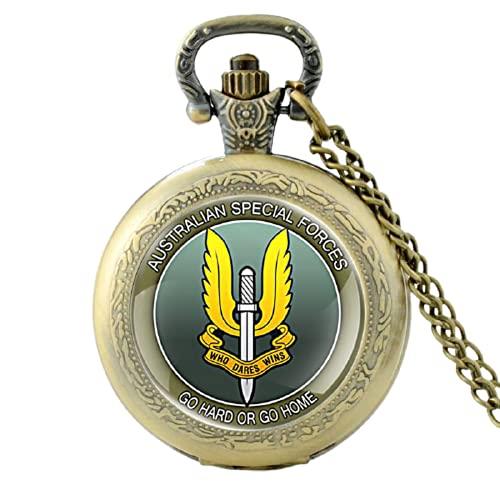 Australian Special Forces - Reloj de bolsillo de cuarzo vintage para hombre y mujer, colgante de collar y horario