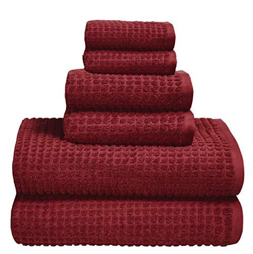 GLAMBURG Juego de Toallas de 6 Piezas de algodón orgánico Puro 100% - Algodón orgánico OEKOTEX - Certificado Gots - Calidad de Hotel y SPA Ultra Absorbente y ecológico - Borgoña