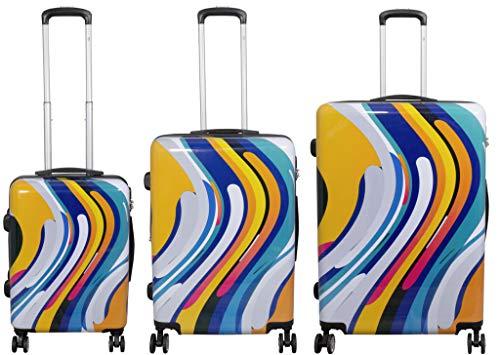 Koffer Hartschalenkoffer Kofferset 3 teilig Funny Wave Orange Blau Gelb Weiß