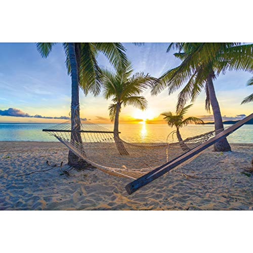 GREAT ART XXL Poster – Hängematte am Palm Beach vor Sonnenuntergang – Wandbild Dekoration Sonne Karibik Urlaub Sommer Strand Meer Palmen Wandposter Fotoposter Wanddeko Bild (140 x 100 cm)