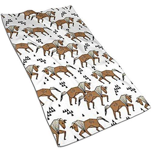 Snbin Geo Horse Triangles Niños Horse Brown Microfibra Toallas de Mano Toallas Toallas de Secado rápido Toallas Deportivas (40x70cm)