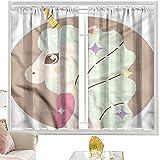 Cortinas opacas con bolsillo para barra Kawaii, diseño de unicornio de dibujos animados, 100 x 200 cm, cortina de oscurecimiento para habitación de niños