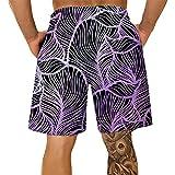 Pantalones Cortos Hombre Deporte SHOBDW Hawai 3D Impresión Verano Pantalones Cortos Playa 2021 Nacionalidad Estilo Pantalones Hombre Chandal Cordón Elástico Cortos Tallas Grandes (Purple, XXXL)
