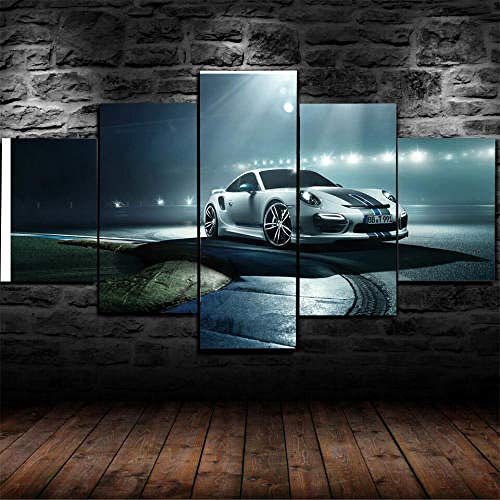 hgjfg Bilder Silver Porsc beleuchtet die Nachtansicht 150x80cm 5 Teilig Leinwandbilder Bild auf Leinwand Kunstdruck Wanddeko Wand Wohnzimmer Wanddekoration Deko fünf Teile zum Aufhängen bereit