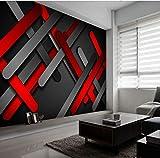 Papierpeintgéométrique abstrait moderne 3D rouge or en trois dimensions des plaques de métalphoto fonds d'écran pour chambre mur 3D-350cmx280cm