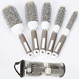 Aozzy 5 Tailles Brosse Ronde professionnelle Cylindre céramique Nano-thermique antistatique Brosse à cheveux Pour chauffage uniforme, Cheveux Bouclés, Lissage des Cheveux, Coiffage.