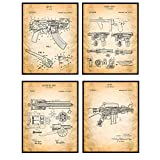 Original Famous Automatic Weapons Wall Art Patent Prints - Unframed Set of Four - Great Gift for Gun and Firearm Enthusiasts - Man Cave Home Decor - Ready to Frame (8x10) Vintage Photos