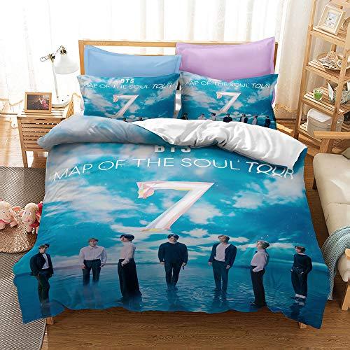 SK-LBB 3D Digital Pattern, BTS Duvet Cover Set, Girl Bedding Set Invisible Zipper Design, Soft Microfiber Three-piece Duvet and Pillowcase (01,Single 135X200CM)