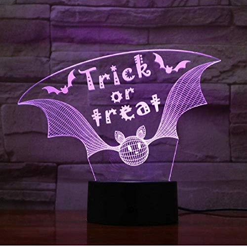Trick Or Treat Night Light 3D Night Light Illusion Decoration Colorful Table Lamp Holiday Birthday Halloween Child Gift Toy