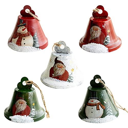 WT-DDJJK 5 campanas de Navidad, decoración hecha a mano, joyería para el hogar, boda, fiesta, festival, árbol de Navidad, campanillas de viento, adornos