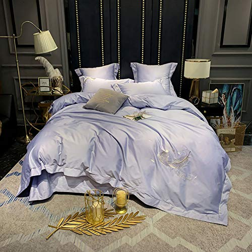 MNBVC Jacquard Bedding Set, Luxury Queen King Size Duvet Cover Bed Linen Quilt Satin Silk Kit Cotton Antibacterial Warm Fashion Home Textile Embroidery