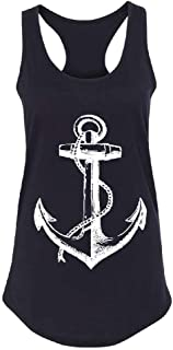 White Anchor Captain Women's Racerback Cool Sailor Marines Graphic Shirt
