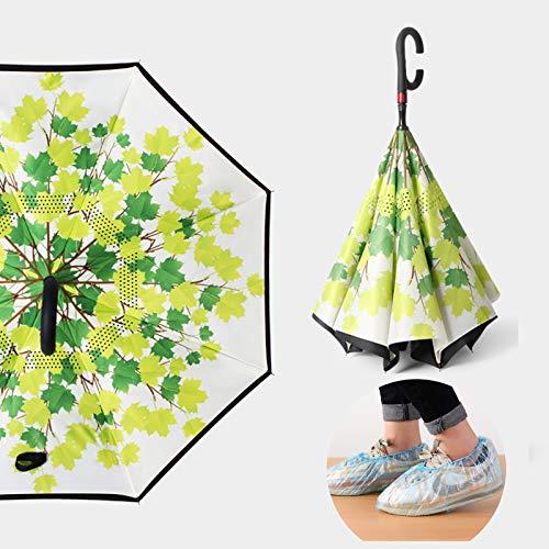 ALBN Ombrello inverso Automatico - Ombrelli invertiti - Manico a Forma di C - Doppio Strato - Antivento, con Copriscarpe Impermeabili monouso da 100 Pezzi, Uomo e Donna,Maple Trees