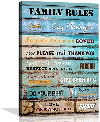 Motivational Wall Art for Kitchen Bathroom Inspiratinal Quotes Family Rules Poster Vintage Artwork product image