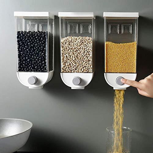 TTFGG Küche Wand- Cerealienspender Trockenfutter Müsli-Spender Für Haferflocken Bohnen Nüsse Reis Küche Dispenser, Trockene Lebensmittel Lagerbehälter,3psc,1500ml