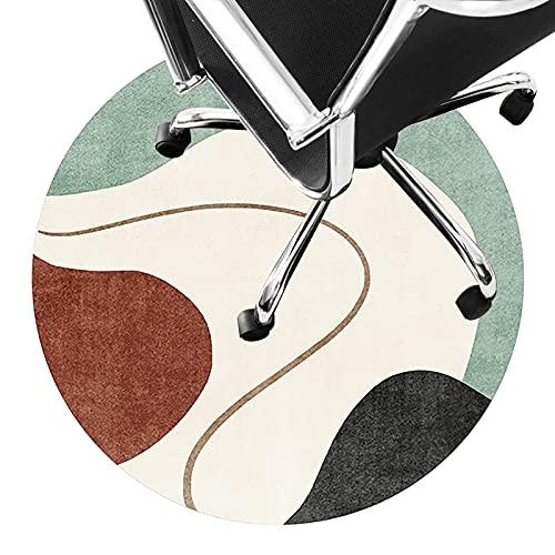 Alfombra para Silla de Ruedas Estera del Piso para Silla de Oficina Estera Protector Antideslizante Alfombra de área de Círculo de Pila Corta Alfombras Silenciosas Fácil de (Size:100cm/39.4in,Color:A)