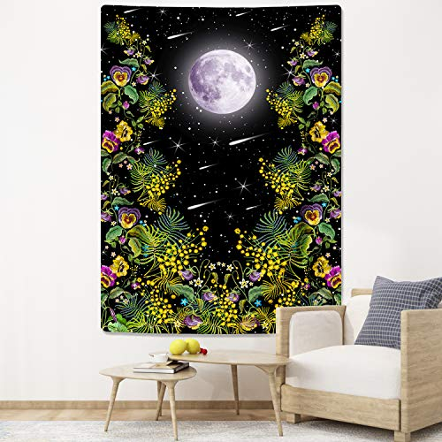 Moonlit Garden Tapestry, Moon Starry Tapestries Floral Vines Tapestry Black Background Flowers Tapestry Wall Hanging for Room (59.1 x 59.1 inches)