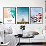 Salon Décoration Murale Affiche Nordique Impression Paris Tour Bâtiment Voyage Paysage Toile Peintures Plage Paysage Marin Photos Art40x60cmx3 Sans Cadre