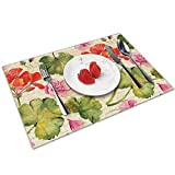 Asekngvo - Set di 4 tovagliette all'americana vintage con fiori di geranio, resistenti al calore, resistenti alle macchie, antiscivolo, per sala da pranzo, cucina, ristorante, tavolo da 40 x 40 cm