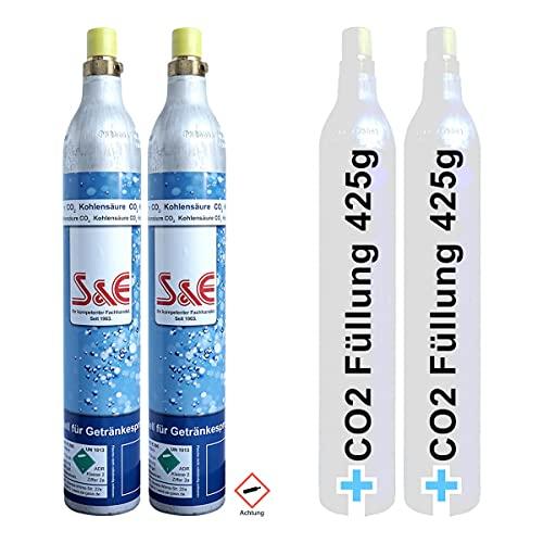 2 x CO2 Zylinder Kohlensäure 425g Flasche inkl. Füllung bis zu je 60 L f. Soda-Stream Wasser-Maxx