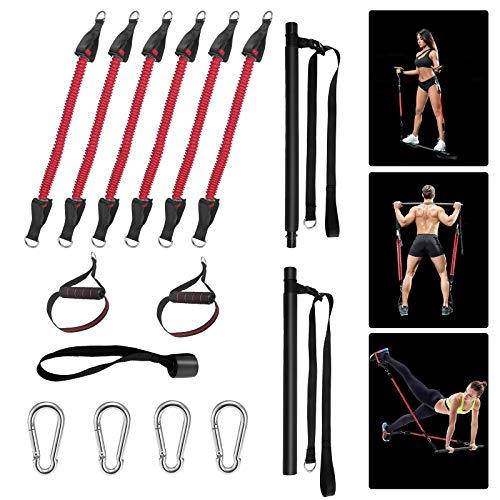 TTLIFE Pilates Bar Set con 6 Bande Elastiche di Resistenza, Esercizio di Yoga Rimovibile con 2 Barre Fitness, Allenamento per la Forza del Bastone per Uomini e Donne, allenamenti Fitness modellamento