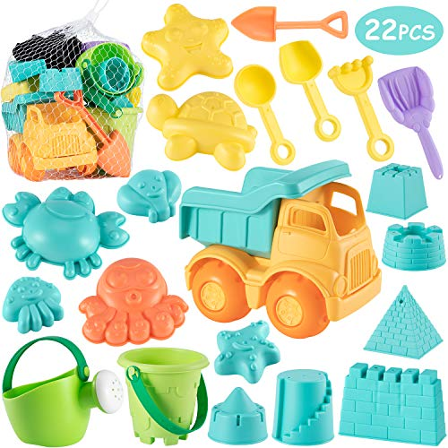 Beach Sand Toys Set for Kids - 22Pcs Sand Toys with Mesh Bag Includes Sand Truck, Castle Bucket, Watering Can, Shovel Tool Kit, Sand Molds, Sandbox Toys Summer Outdoor Beach Toys for Toddlers Gift