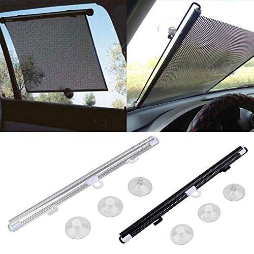 Hanbaili schwarz + Splitter 60x40cm Auto einziehbare Windschutzscheibe Markise für Cover Sonnenschutz Sonnenschutz