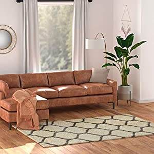 "Amazon Basics Modern Plush Moroccan Trellis Shag Area Rug – 6×9 (5'11"" x 8'10""), Ivory"