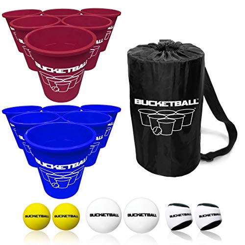 BucketBall - Team Color Edition - Combo Pack (Maroon/Navy Blue): Original Yard Pong Game: Best Camping, Beach, Lawn, Outdoor, Family, Adult, Tailgate Game