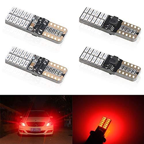 4 unids T10 W5W 168 194 501 LED Bulbs 24 leds 4014SMD Super Bright Rojo Canbus no error Bombillas de cuña Luces de posición Placa de la lámpara del coche Juego Interior del coche 5W 12V 6000k