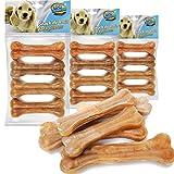 12 Pcs Hueso Prensado para Perros Piel Vacuno Fortalecedor de Dientes Stick Dental Dog Snack 9cm (12 Pcs 9 cm) BPS-5094 * 3
