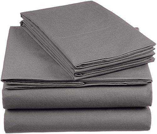 Amazon Basics 'Everyday' Bettwäscheset aus 100% Baumwolle, Dunkelgrau 155x220cm & 2 Kissenbezüge 80x80cm