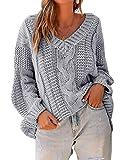 Yidarton - Jersey de punto grueso para mujer, cuello en V, casual, de manga larga gris L
