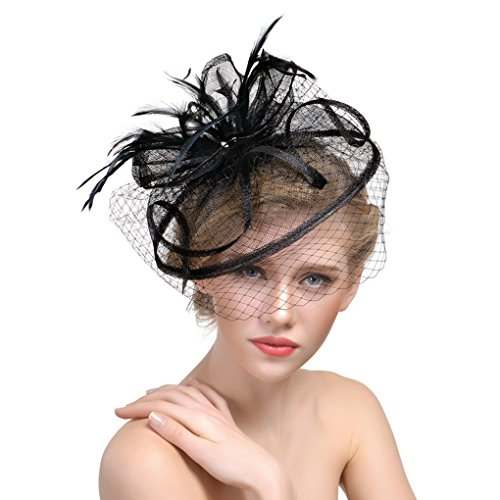 Womens Veil Net Mesh Formal Party Fascinators Hat Yarn Feather Wedding Bride Headdress with Hair Clips for Cocktail Costume Black