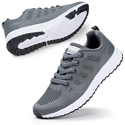 STQ Womens Sneakers Lace up Lightweight Athletic Running Walking Gym Shoes Grey 8