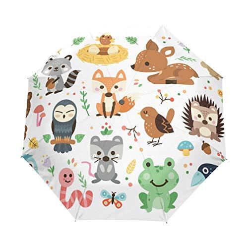 Jeansame Animal World Forest Fox Kikker Vogel Vouwen Compacte Paraplu Automatische Regen Paraplu's voor Vrouwen Mannen Kid Boy Meisje