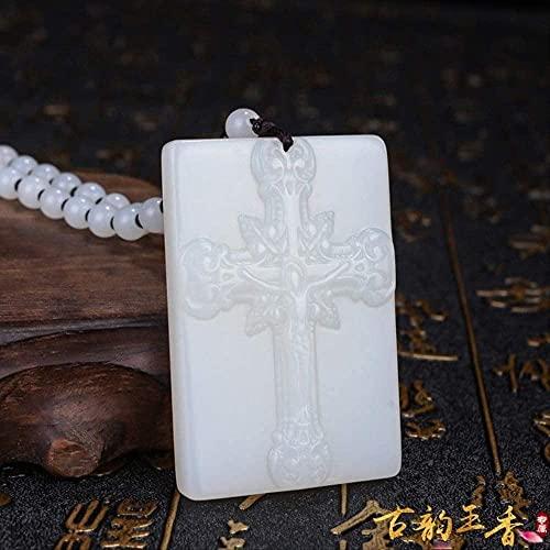 ZYLZL Colgante de cruz de jade blanco natural, collar de jadeíta, joyería con dijes, accesorios de moda, tallado a mano, amuleto de la suerte para hombre, regalos