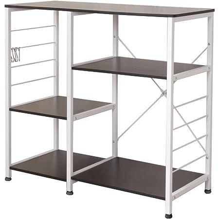 soges Kitchen Baker's Rack Utility Microwave Oven Stand Storage Cart Workstation Shelf with Basket Large Size, Black 171-BK