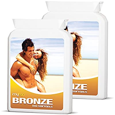MyTan Bronze Twin Pack Tanning Tablets   Over 12-Week Supply   Tanning Pills   Sunless Tan Supplement   200 Sun Tan Tablets (Pack of 2)