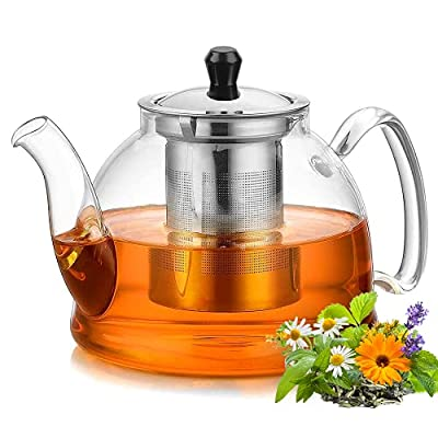KIOVINO Borosilicate Glass Teapot Kettle 900ML with Removable Stainless Steel Infuser for Stovetop Safe Tea Kettle, Blooming and Loose Leaf Tea Maker Set