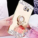Carcasa para Galaxy S7 Edge, Funda para S7 Edge, Carcasa ikasus lujosa de cristal, con brillantes de diamantes, purpurina, espejo para maquillaje, goma protectora antigolpes y anillo de soporte y agar