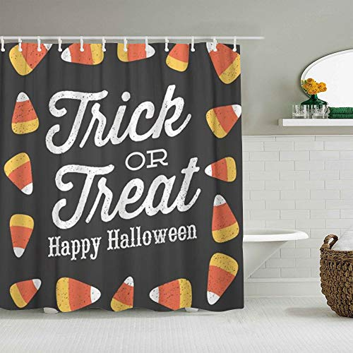 RUBEITA Cortina de Ducha Impermeable,Script Trick Treat Happy Halloween Candy Corn Design Celebración de Dibujos Animados Cute,Cortinas de baño de poliéster con 12 Ganchos,tamaño 180 x 210cm