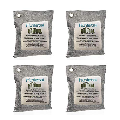 Hunletai Air Purifying Bags for Car (200g, 4 Pack), Auto Air Freshener,Deodorizer & Bamboo Charcoal Bag Odor Eliminator Absorber for Fridgerator, Toilet Bathrooms, Cabinet,Trash Bins, Laundry Rooms
