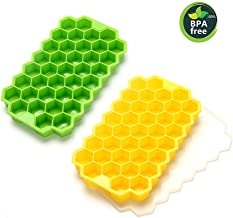 Ice Cube Trays Silicone Ice Cube Molds with Lids 2 Pack 74 Mini Small Square Ice Cubes,Easy Release Reusable and BPA Free Ice Cube Maker for Whiskey Storage,Cocktail,Beverages